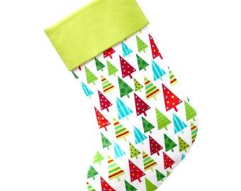 Large Christmas Stocking -- Christmas Trees Stocking -- CS0040 Personalized Stocking Option Available
