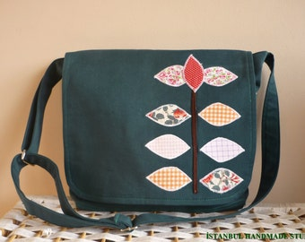 Emerald Green  Messenger bag with  Applique Flap