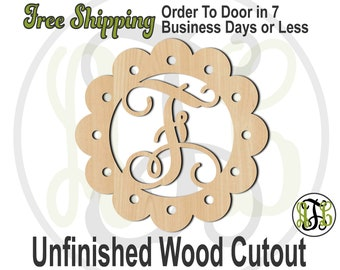 Scalloped Monogram - 990001M- Personalized Cutout, Initial, unfinished, wood cutout, laser cut, wood cut out, wooden, Door Hanger