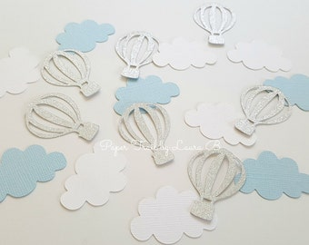 Hot Air Balloon Cupcake Confetti in Light Blue and Silver. Baby Shower or Birthday Party Decorations.Up, Up and Away. Silver Glitter. 50 CT
