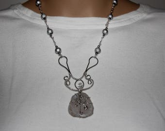Silver and Gray Pendant - Silver Necklace - Sterling Silver Wire - Gray Beaded Necklace - Gray Pendant - Gray Necklace - Silver Beads - Gift