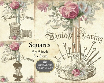 Shabby Chic Sewing Needlework 2x2 inch squares Instant Download digital collage sheet TW101