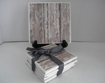 Distressed, Barn Wood Rustic, Washed Shabby Chic Looking Trivet & Set of 8 Drink Coasters Great Gift Idea!