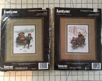 Janlynn Winter Reverie II #160-01 and III #160-02, Set Counted Cross Stitch Kits, Opened Packages, 1994