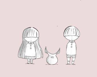 Poster illustration nursery - schoolchildren and monster - christmas gift
