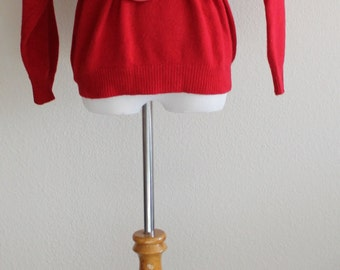 Vintage 70's 80's Red SOFT LAMBSWOOL Angora Oversized Pull Over Sweater Jumper Milano Medium Large