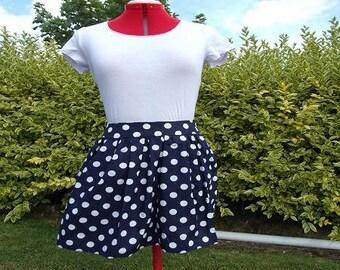 pleated skirt Navy blue white polka dots