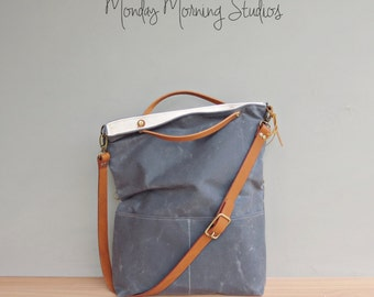 Grey Waxed Canvas Tote, Converts to Foldover Bag with Adjustable Leather Strap, Waxed Canvas Bag, Plus Size Crossbody Purse, Made in USA