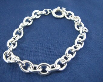 Classic Oval Link Charm Bracelet, Solid 925  Sterling Silver