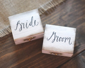 Custom Wedding Ring Boxes, Set of Two, Rustic Wooden Ring Boxes, Wedding Gift, Bride and Groom Ring Bearer Boxes, Wooden Boxes with Burlap
