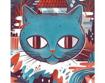 Cat Screen Print - 11x17 Outdoor Cat Print
