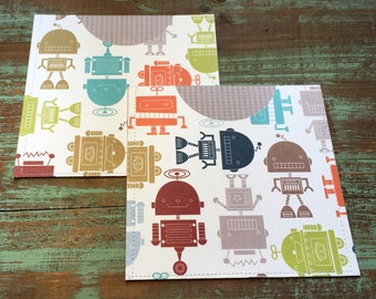 CD Paper Sleeves Set • Robotos • Handmade Pair of Disk Covers • Envelopes • Gift Wrap • Pockets • Printed Paper • DVD
