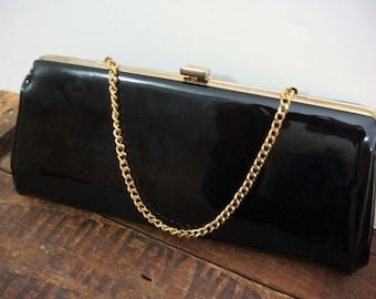 Black Patent Leather Handbag - Clutch Purse