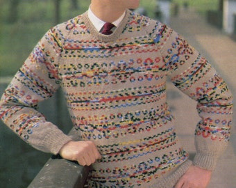 1950s  Easy Fair Isle Sweater for Him Pdf  Vintage Knitting Pattern in D.K 40 to 44 Chest