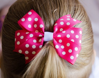 Hair Bow - White on Pink Polka Dot Pinwheel Bow
