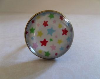 Cabochon glass * multicolored stars * 20 mm