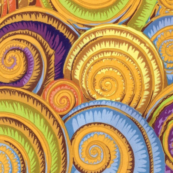 SPIRAL SHELLS GOLD PJ073 by Philip Jacobs for Kaffe Fassett Collective Sold in 1/2 yd increments