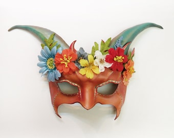Leather Horned Creature Goat Mask with Flowers and a little Glitter by Teonova  lightweight easy to wear elastic straps