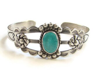 Fred Harvey Era 1940 Navajo Turquoise Cuff Bracelet Silver Arrow Products Hallmark