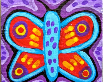Original Small Folk Art Whimsical Butterfly Magnet