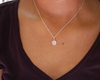Tiny Sterling Silver Disk Necklace