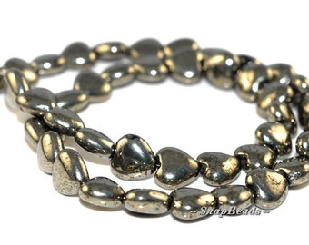 8MM LOVE Iron Pyrite Gemstones, Puffed Love Heart, 8MM Loose Beads 7 inch Half Strand (90106964-412)