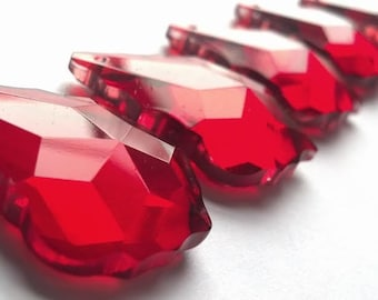 5 Red French Cut Chandelier Crystals 38mm