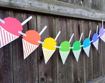 Snowball Stand Sign ~ Snow Cone Banner ~ Snowcone Summer Decor ~ Ice Cream Garland ~ Summer Banner ~ Summer Party Decor ~ Snow Cone Bunting