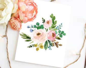 Printable Art Watercolor Flower Print Watercolor Floral Art, Flower Wall Art, Botanical Art, Floral Bouquet, Floral Nursery Floral Print Art
