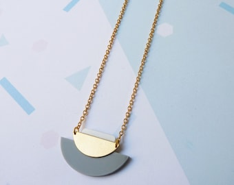 Geometric Necklace Grey - Gold Geometric Necklace - Gold Necklace - Gold Jewelry - Minimal Necklace - Geometric Jewellery- Gifts For Her