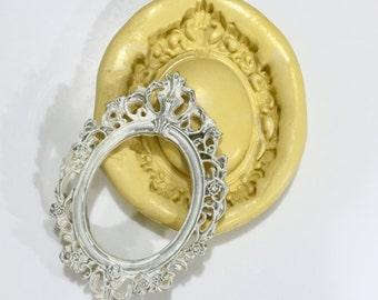 Royal Oval Frame Silicone Mold - chocolate mold, fondant mold, food safe mold, resin or soap mold