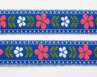 """Pink & White Daisy Floral on Blue Jacquard Ribbon Vintage Sewing Trim,  Tyrolean Trim 7/8"""" wide - 3 yards - Millinery, Haberdashery"""