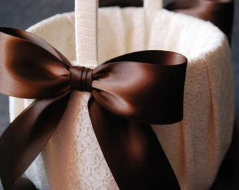 Flower Girl Basket with Ivory Lace and Double Faced Brown Satin Bow - Katherine