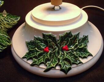 Detailed Holly (Large) Ceramic Christmas Tree Base w/ Music Box