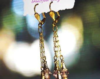 Bohemian Rhapsody- handmade earrings- dangle earrings- artisan earrings- Swarovski crystal earrings- chain earrings- jewelry- gift for her