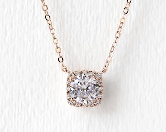 Rose Gold Bridal Necklace, Cushion Cut Pendant Necklace, Bridal Jewelry, Wedding Jewelry, Bridal Accessories, Rose Gold Necklace, N521-RG