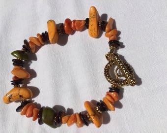 Orange magnesite Bracelet on pewter toggle clasp