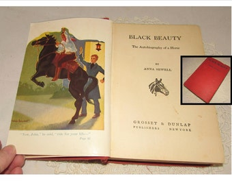 Vintage Hardcover Childrens Book, Black Beauty by Anna Sewell, 40s, horse story, Adventure, Horses, Pub. Grosset & Dunlap