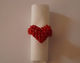 """Ring beads small red heart """"Madeleine"""""""