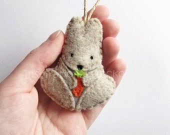 Felt bunny ornament, felt woodland baby shower, cute nursery home decor, woodland animal gift idea, door hanger, felt plush gift, Easter