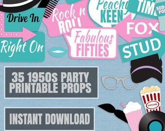 35 1950s Party Props, diner party photo booth prop, diy photobooth props, Pink and Blue Decor 50s themed parties, instant download