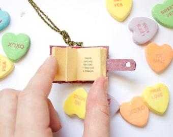 Custom mini book necklace, literary necklace, custom book jewelry, mini book pendant, mini leather book, valentine's gift, poe, gift for her