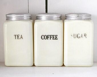 SALE - Set of Three McKee Custard Canisters Tea, Coffee, Sugar