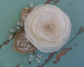 Rustic hair flower, Wedding hair accessory, Woodland headpiece, Bridal hair flower, Woodland hair flower, YOUR CHOICE COLOR, Vintage Wedding