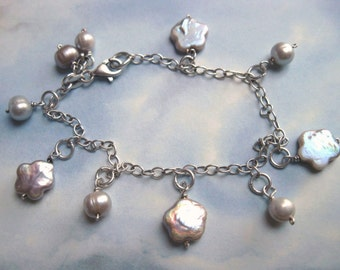 Bracelet 925 Sterling Silver and gray pearls flowers