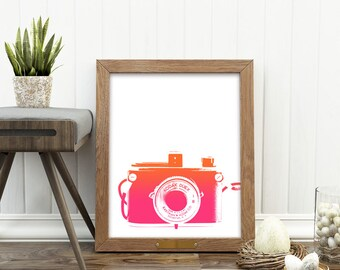 girls room decor, camera print, photography gift, instant download, pink orange baby nursery wall art, teenager, dorm decor, jpg file