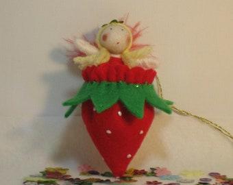 Strawberry Fairy- tiny fairy doll in felt strawberry