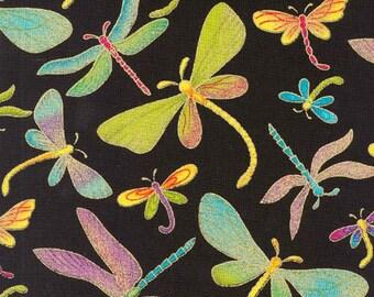 Timeless Treasures Dragonflies (M1) Black, Metallic Fabric By The Yard