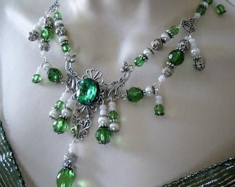 Absinthe Green Necklace, victorian jewelry renaissance jewelry medieval jewelry art nouveau art deco edwardian tudor necklace neo victorian