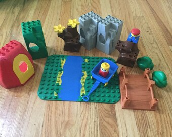 Vintage duplo LEGO toy zoo animals building blocks boys girl toddler game learning game pretend play LEGO lot set miniature board game doll